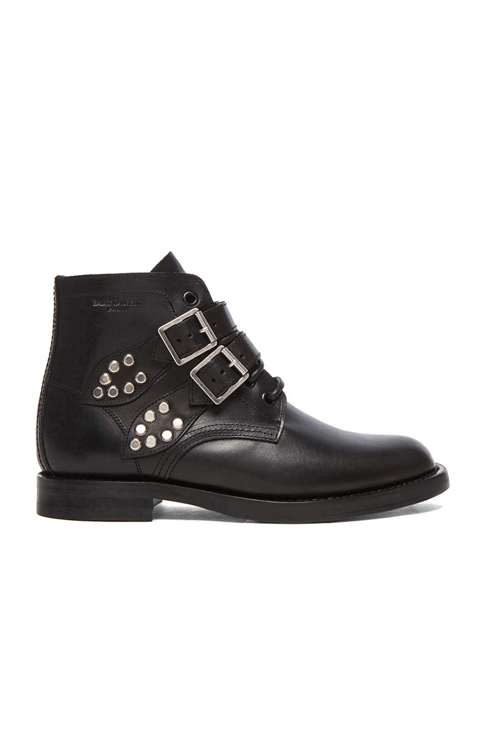 Image 1 of Saint Laurent Leather Buckled Ankle Boots in Black