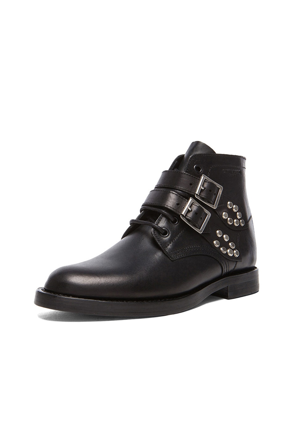 Image 2 of Saint Laurent Leather Buckled Ankle Boots in Black