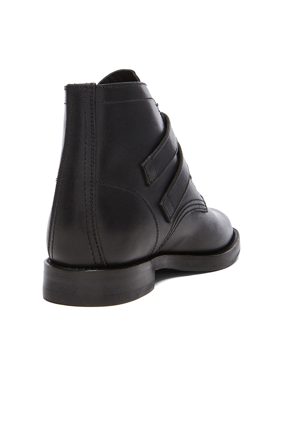 Image 3 of Saint Laurent Leather Buckled Ankle Boots in Black