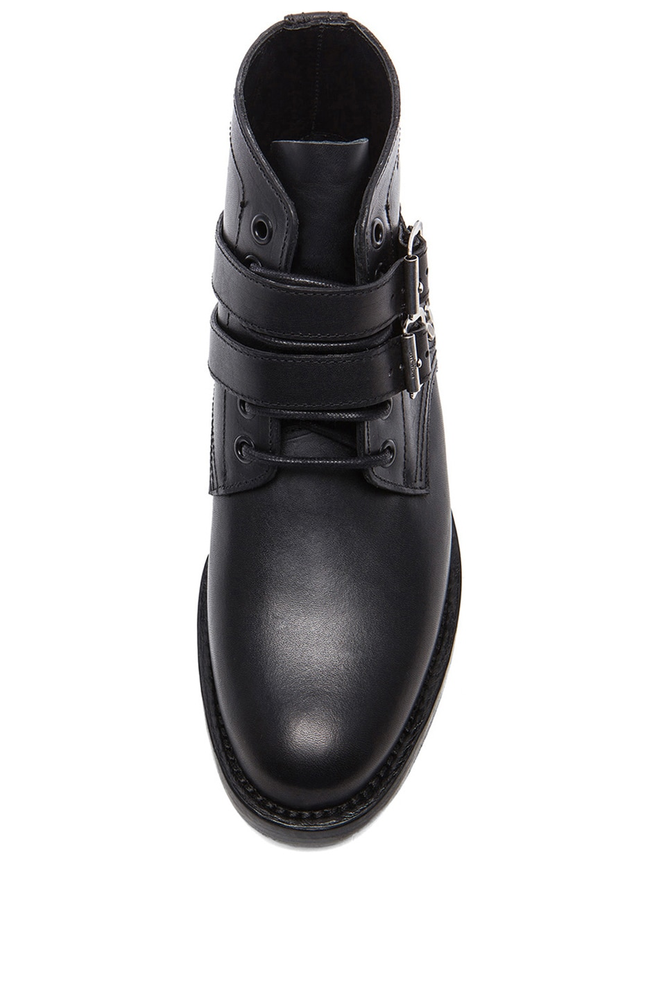 Image 4 of Saint Laurent Leather Buckled Ankle Boots in Black