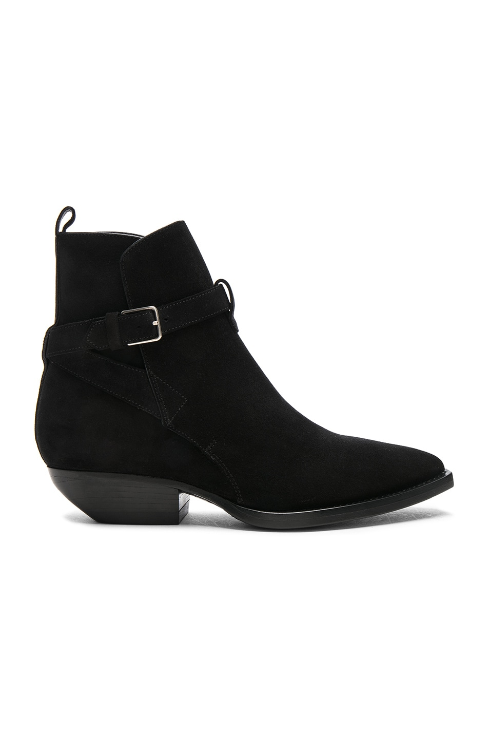 Image 1 of Saint Laurent Suede Theo Jodhpur Boots in Black