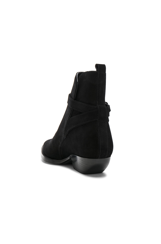 Image 3 of Saint Laurent Suede Theo Jodhpur Boots in Black