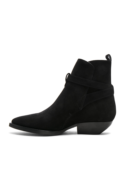 Image 5 of Saint Laurent Suede Theo Jodhpur Boots in Black