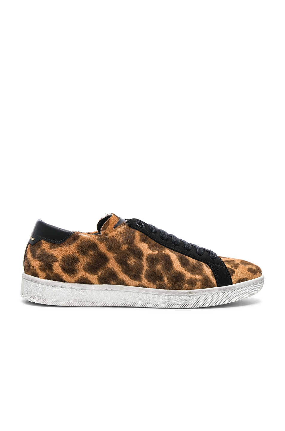 SAINT LAURENT PONY HAIR & SUEDE COURT CLASSIC SNEAKERS IN BROWN,ANIMAL PRINT