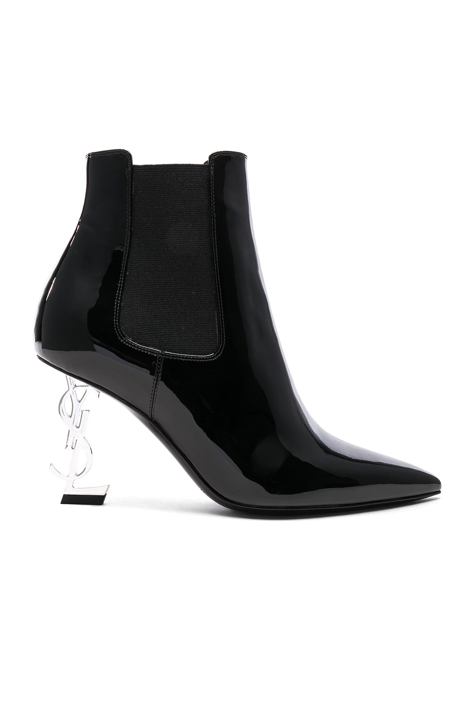 Image 1 of Saint Laurent Patent Opium Monogramme Heeled Boots in Black & Silver