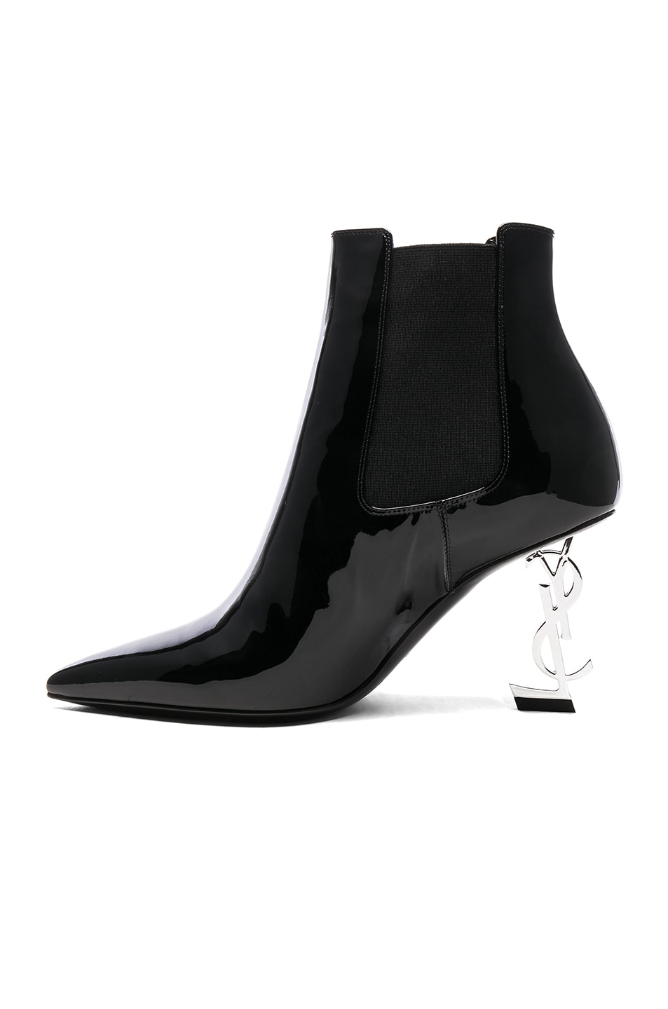 Image 5 of Saint Laurent Patent Opium Monogramme Heeled Boots in Black & Silver