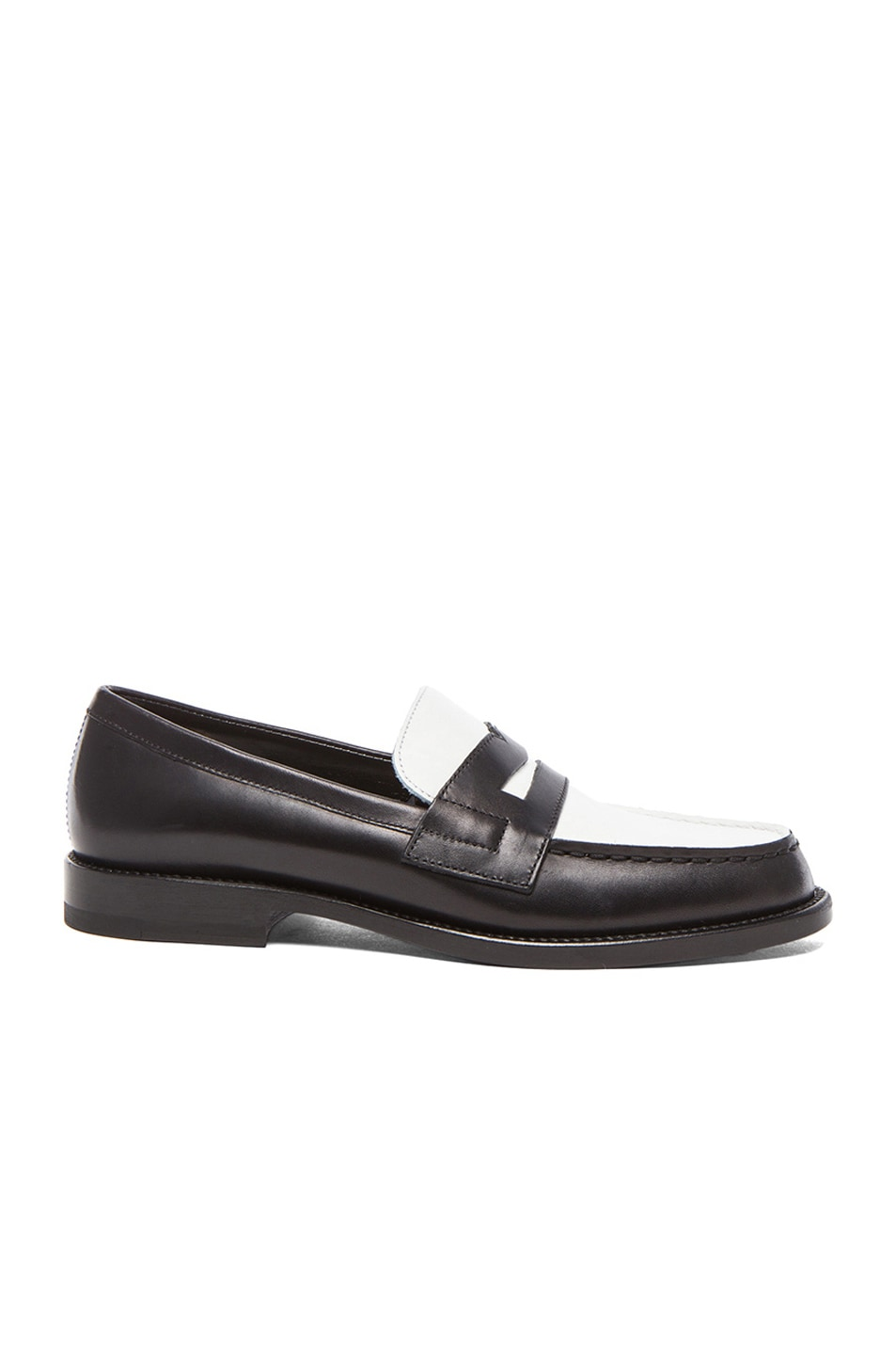 Image 1 of Saint Laurent Classic Loafer Leather Moccasins in Black & White