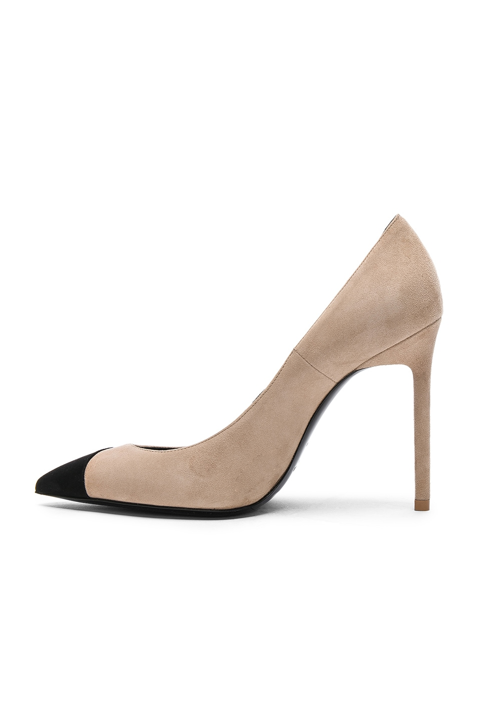 Saint Laurent Suede Anja Cap Toe Pumps in Neutrals.