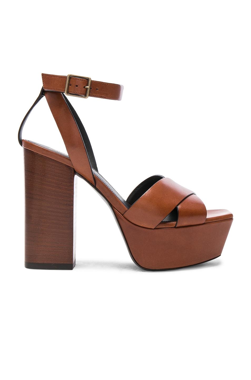 Image 1 of Saint Laurent Leather Farrah Cross Strap Platform Sandals in  Caramel