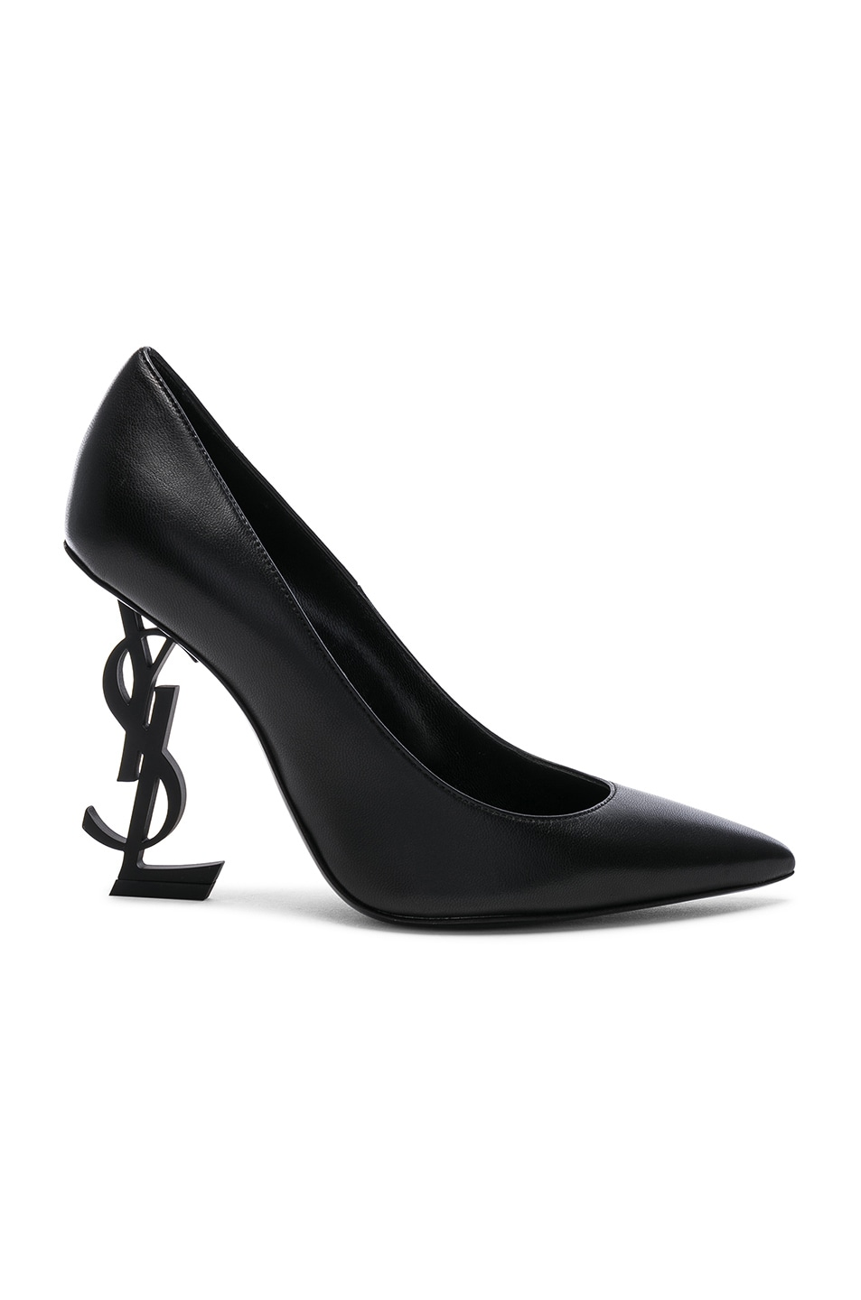 Image 1 of Saint Laurent Opium Leather Monogramme Heels in Black & Black
