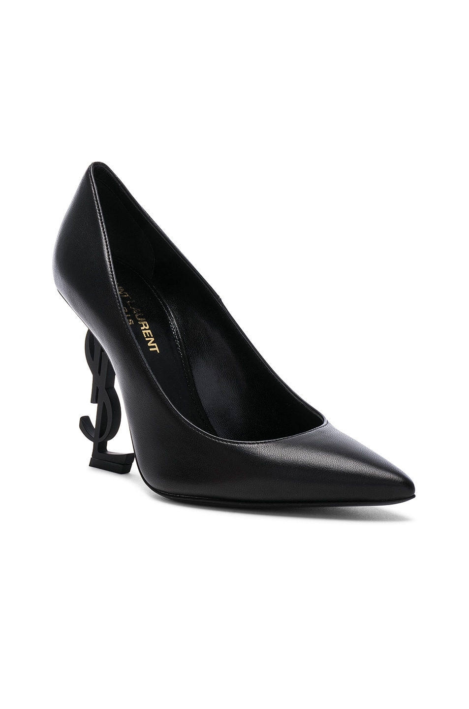 Image 2 of Saint Laurent Opium Leather Monogramme Heels in Black & Black