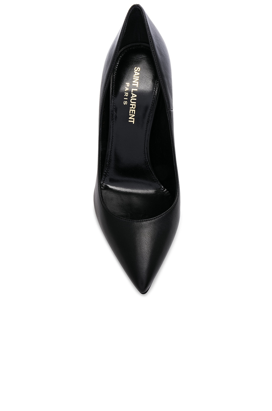 Image 4 of Saint Laurent Opium Leather Monogramme Heels in Black & Black