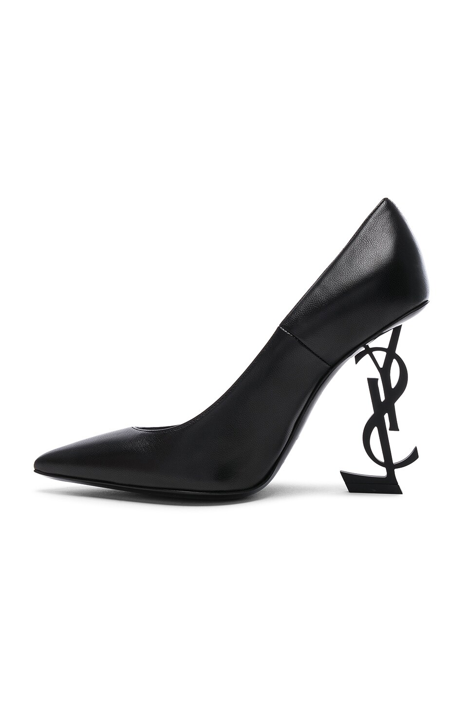 Image 5 of Saint Laurent Opium Leather Monogramme Heels in Black & Black