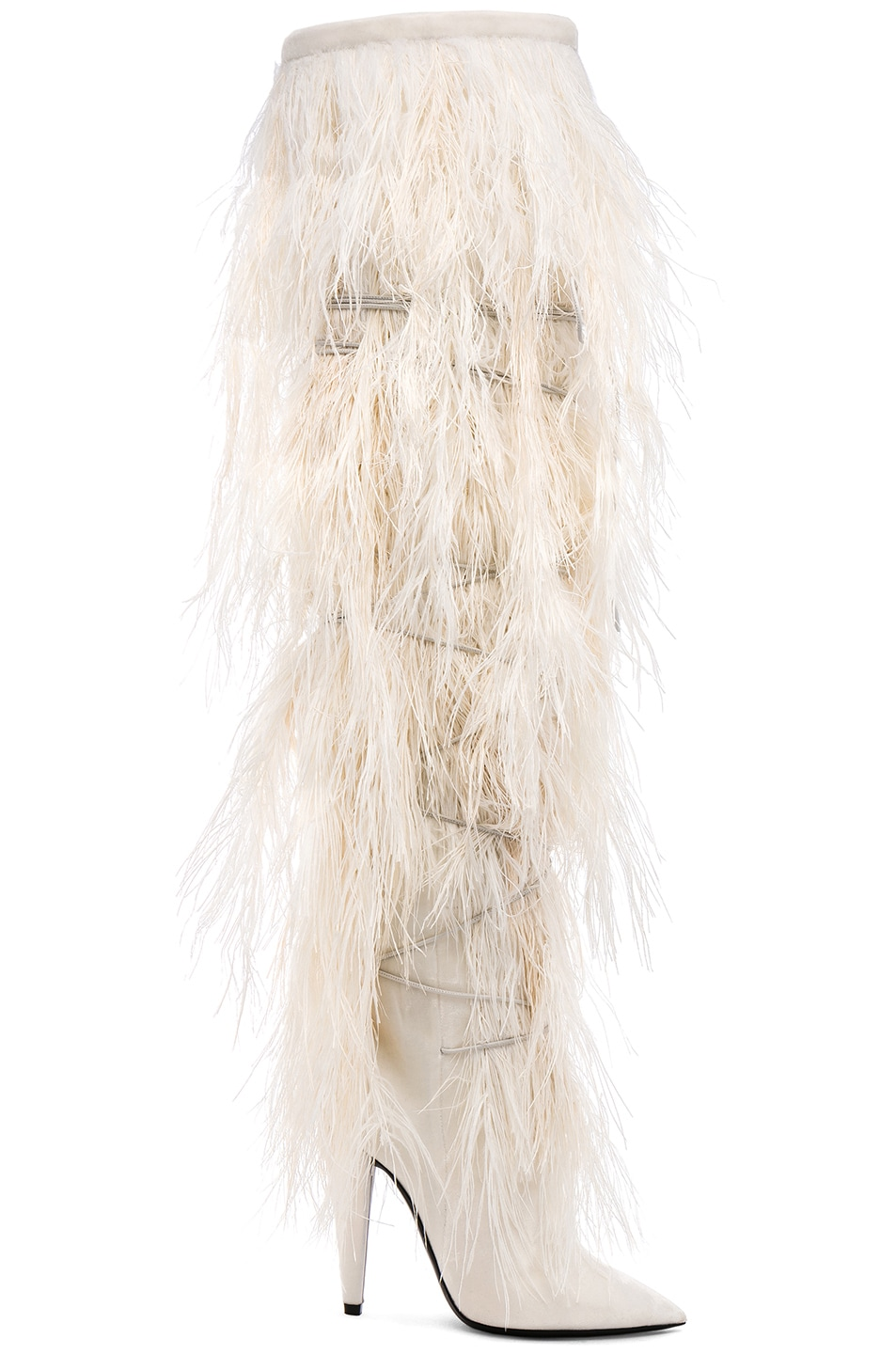 Saint LaurentEra Feather Embellished Velvet Yeti Thigh High Boots in .