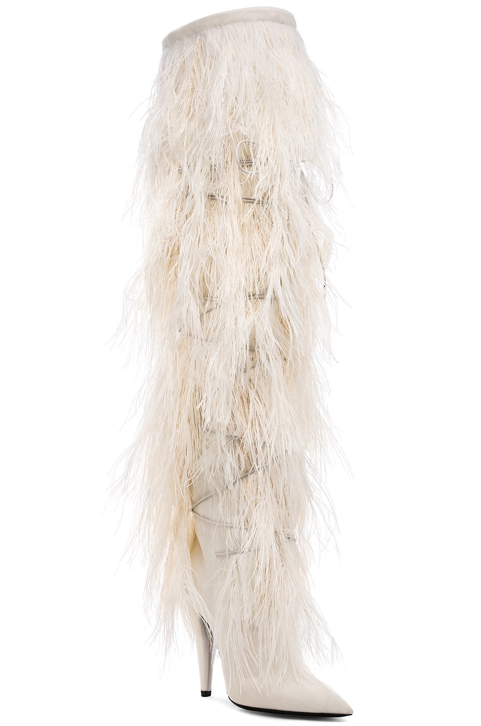 Saint LaurentEra Feather Embellished Velvet Yeti Thigh High Boots in . 3r5P6lSYBf