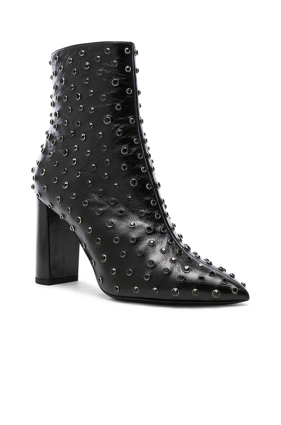 Image 2 of Saint Laurent Betty Crystal Embellished Leather Heeled Ankle Boots in Black