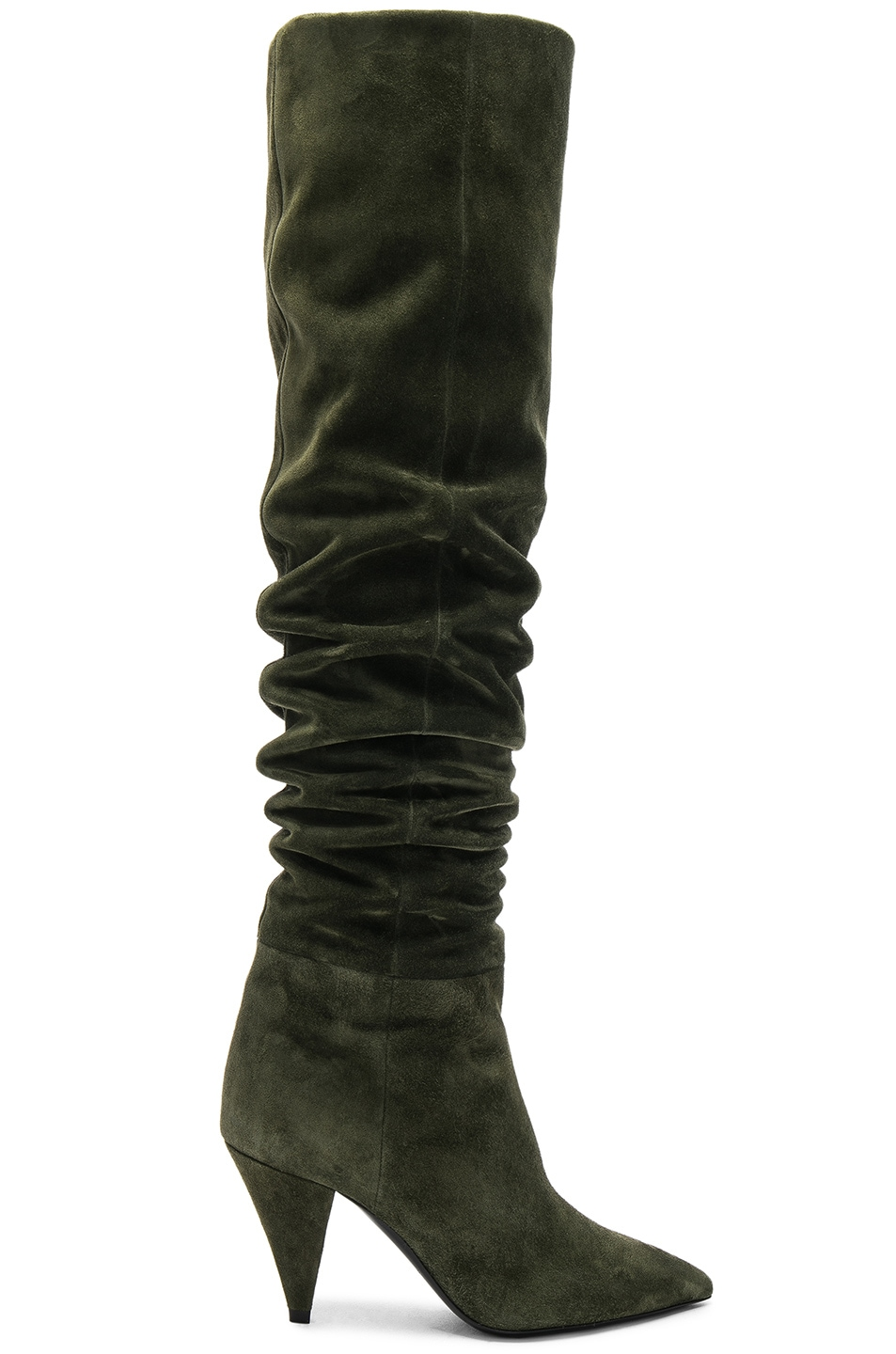 GREEN ERA 110 SUEDE RUCHED KNEE BOOTS
