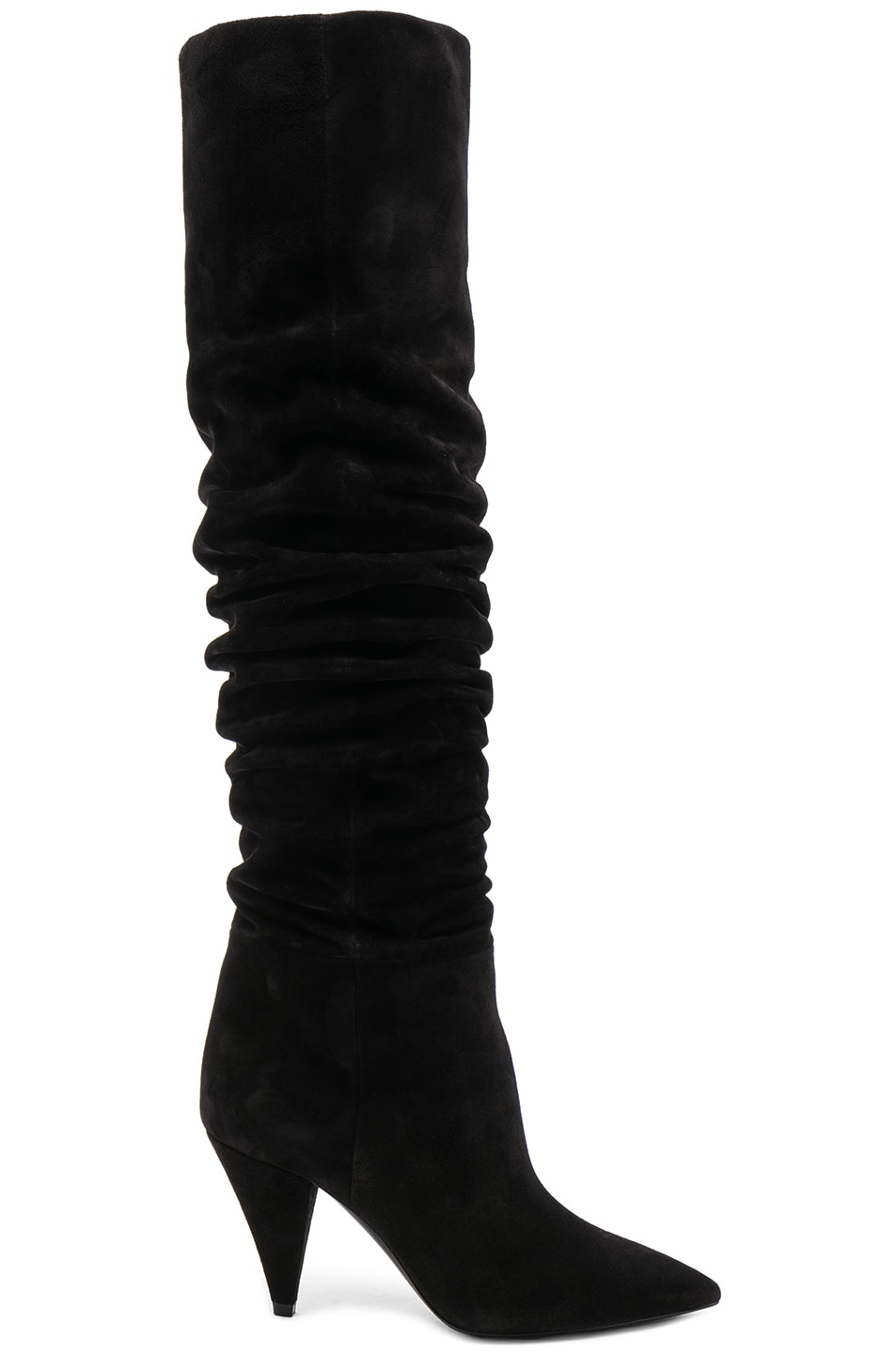 Image 1 of Saint Laurent Suede Era Heeled Thigh High Boots in Black