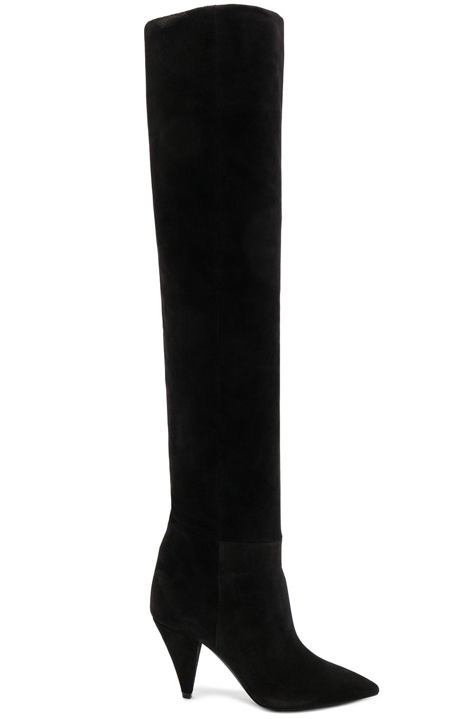 Image 2 of Saint Laurent Suede Era Heeled Thigh High Boots in Black