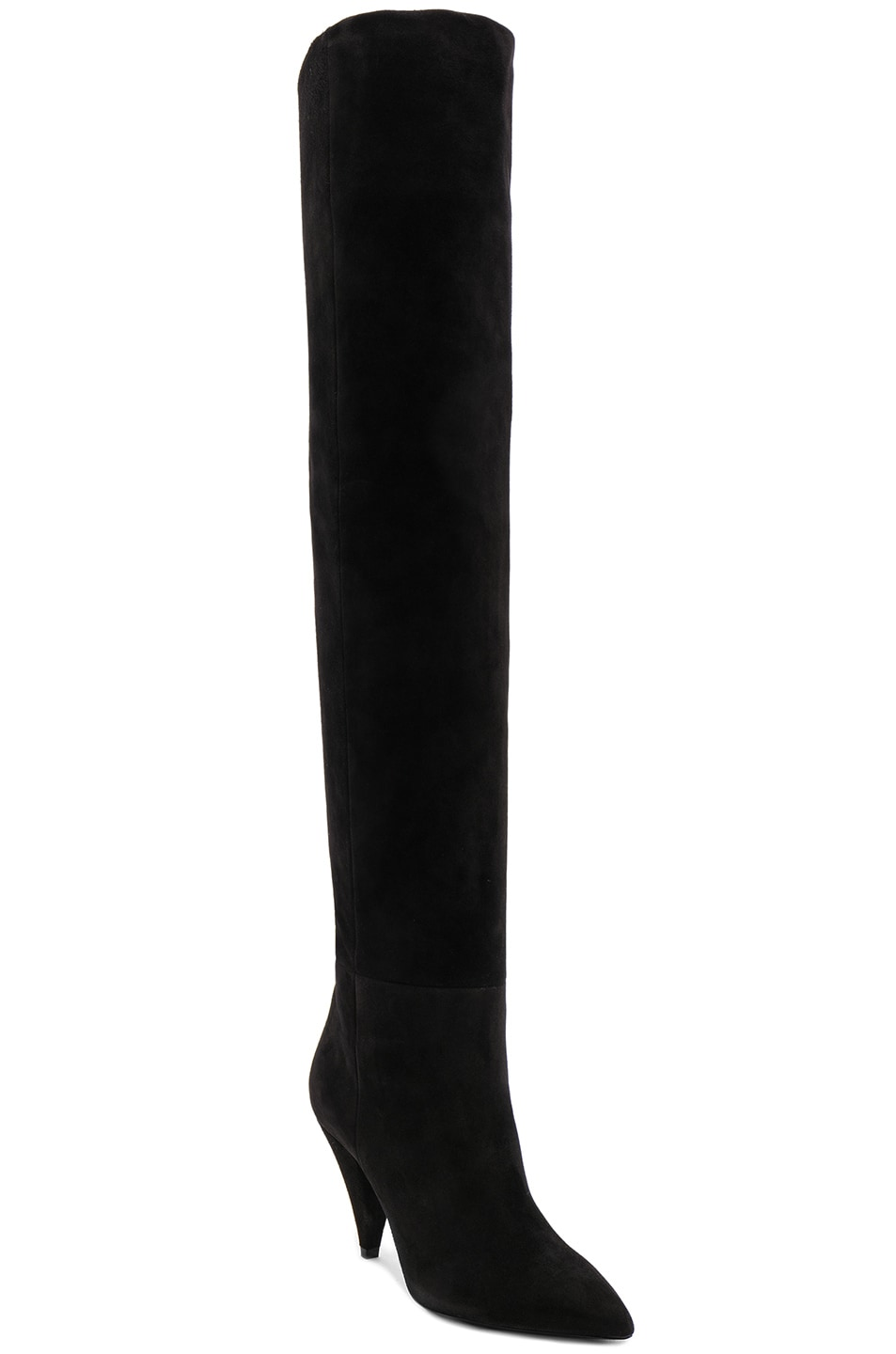 Image 3 of Saint Laurent Suede Era Heeled Thigh High Boots in Black