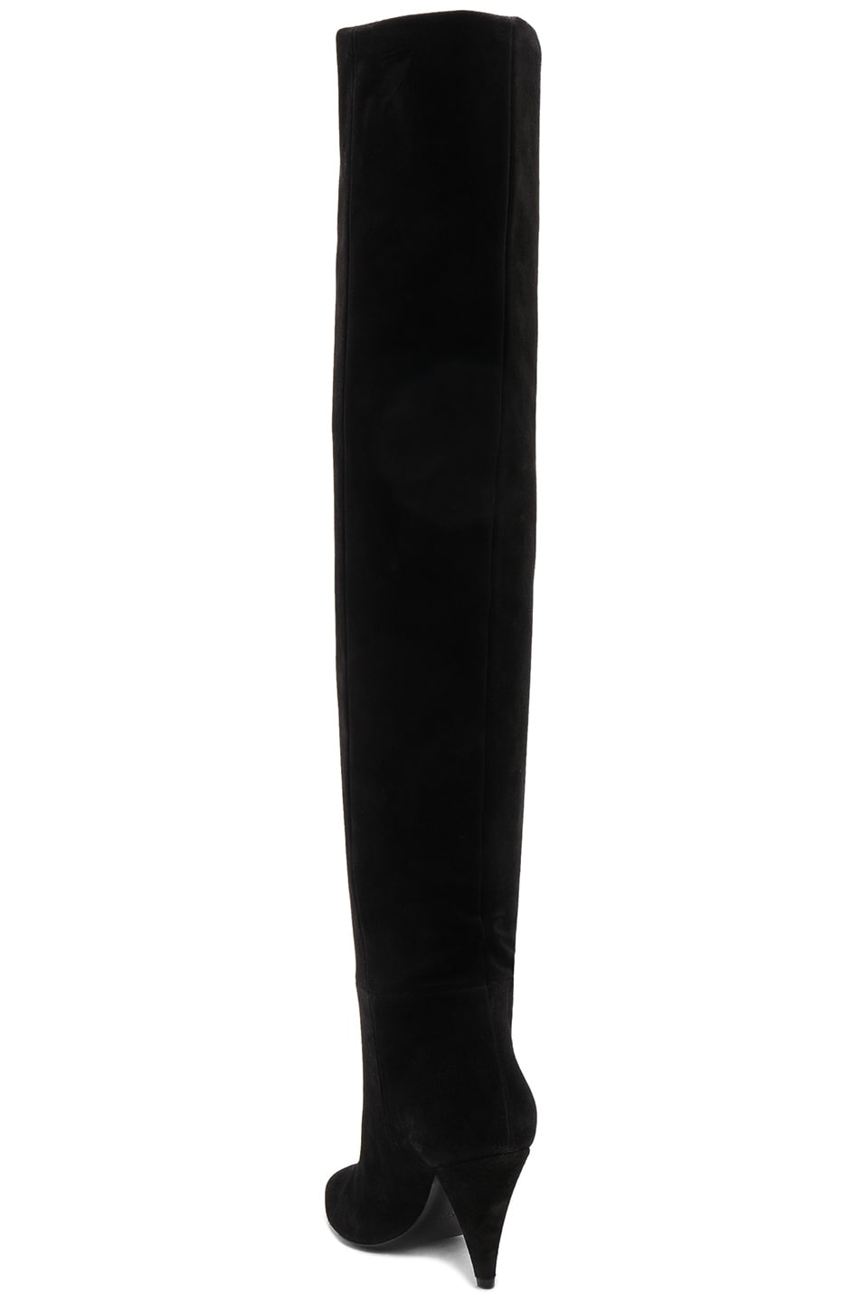 Image 4 of Saint Laurent Suede Era Heeled Thigh High Boots in Black