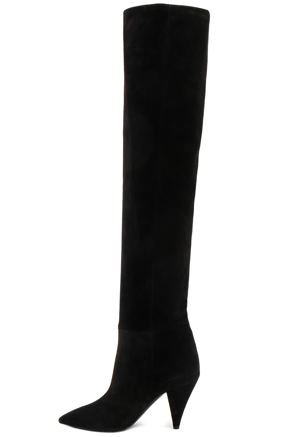 Image 6 of Saint Laurent Suede Era Heeled Thigh High Boots in Black