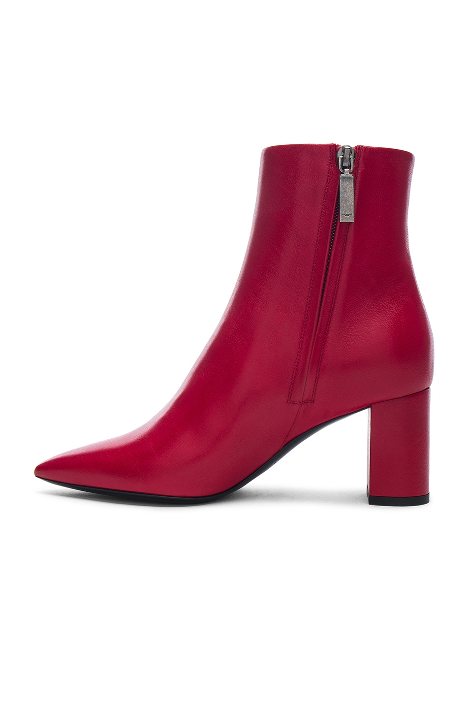 4300e7e0 Saint Laurent Leather Betty Heeled Ankle Boots in Eros Red ...