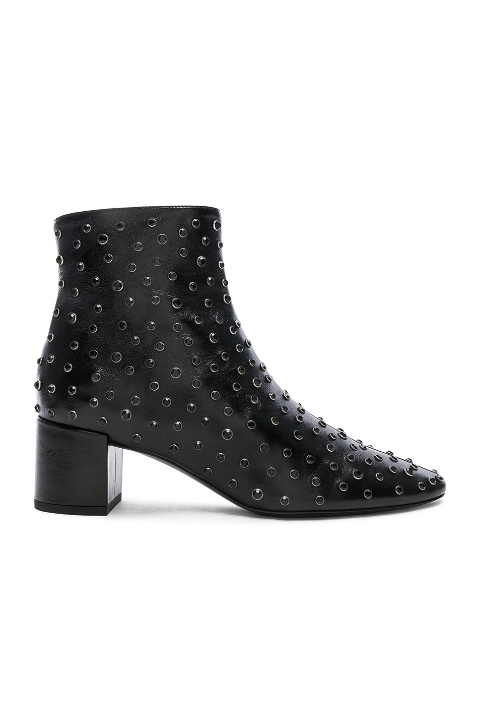 Image 1 of Saint Laurent Loulou Crystal Studded Leather Ankle Boots in Black