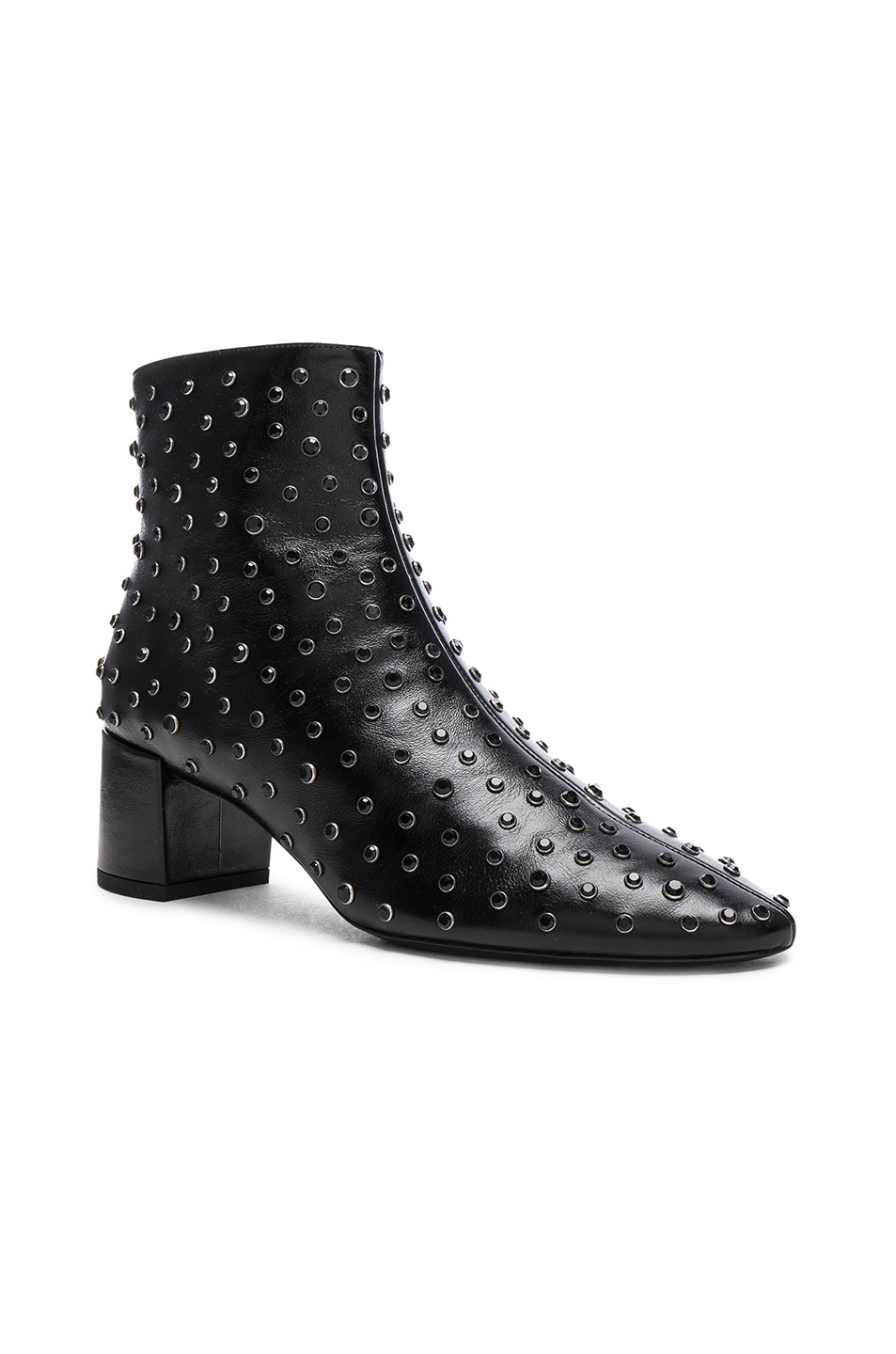 Image 2 of Saint Laurent Loulou Crystal Studded Leather Ankle Boots in Black