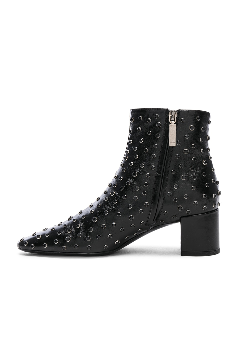 Image 5 of Saint Laurent Loulou Crystal Studded Leather Ankle Boots in Black