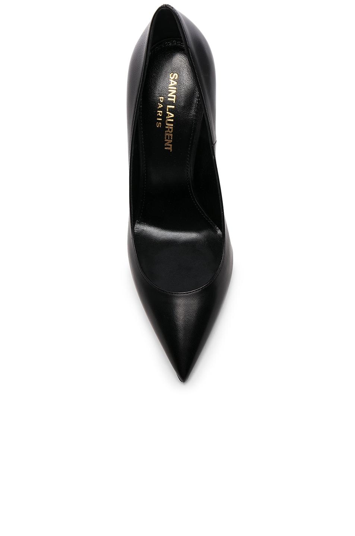 Image 4 of Saint Laurent Leather Opium Monogramme Heels in Black & Gold