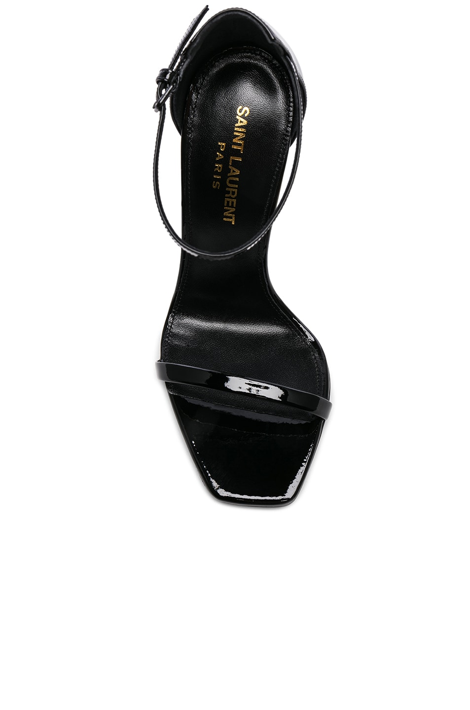 Image 4 of Saint Laurent Opium Leather Monogramme Sandals in Black & Black