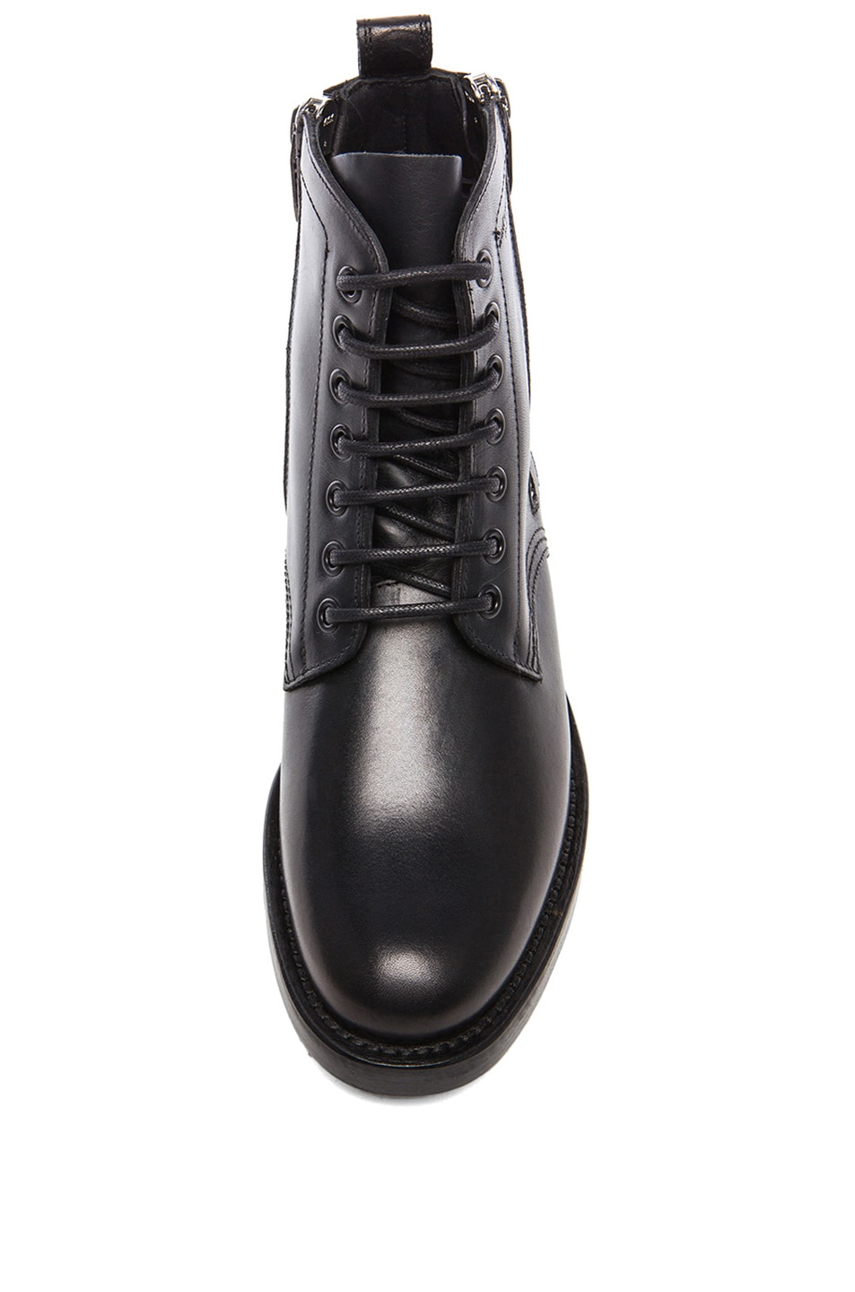 16cacd0efbe Image 4 of Saint Laurent Leather Ranger Zipper Combat Leather Boots in Black