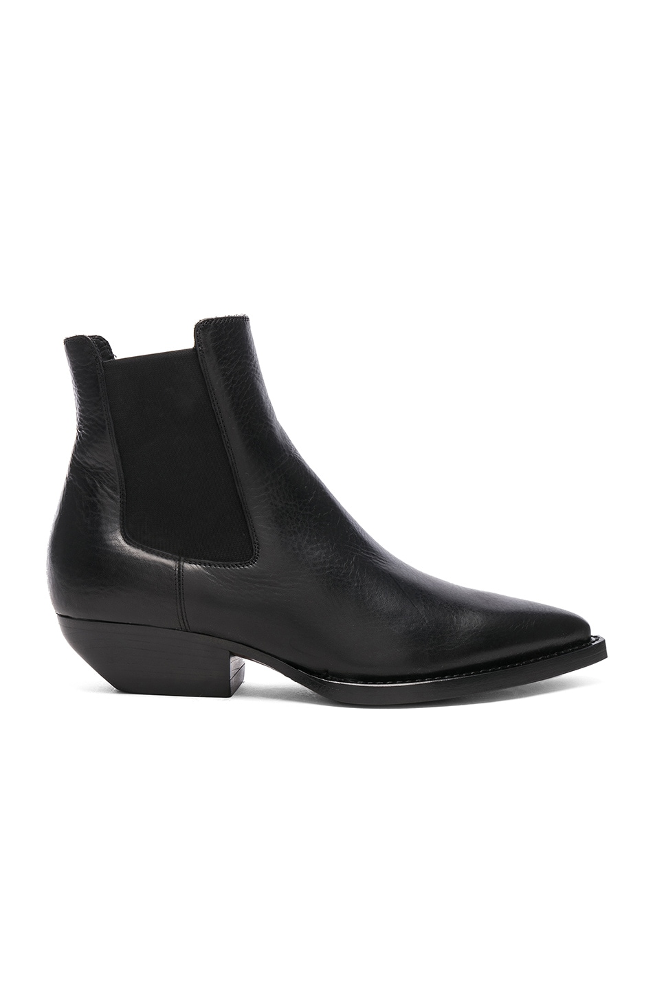Image 1 of Saint Laurent Theo Leather Chelsea Boots in Black
