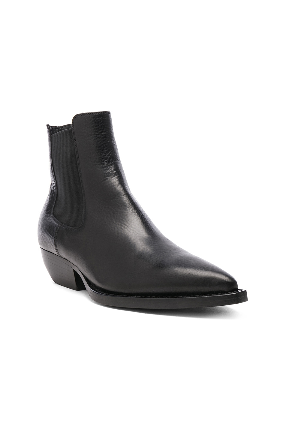 Image 2 of Saint Laurent Theo Leather Chelsea Boots in Black