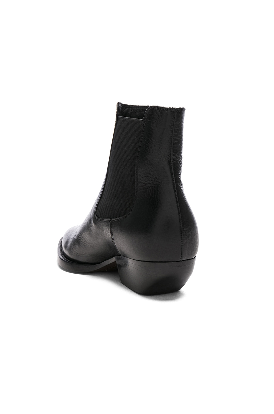 Image 3 of Saint Laurent Theo Leather Chelsea Boots in Black