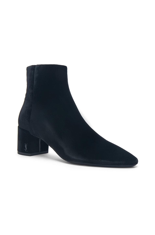 Saint Laurent Velvet Loulou Pin Ankle Boots in . Z73ggCSuIA