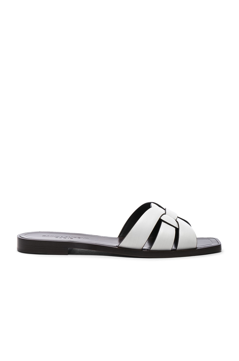 Image 1 of Saint Laurent Leather Nu Pieds Slides in Optic White