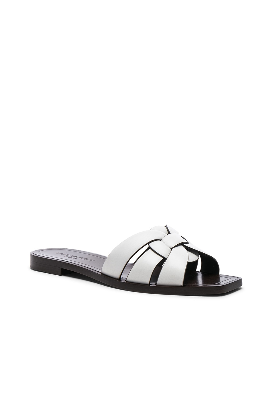 Image 2 of Saint Laurent Leather Nu Pieds Slides in Optic White