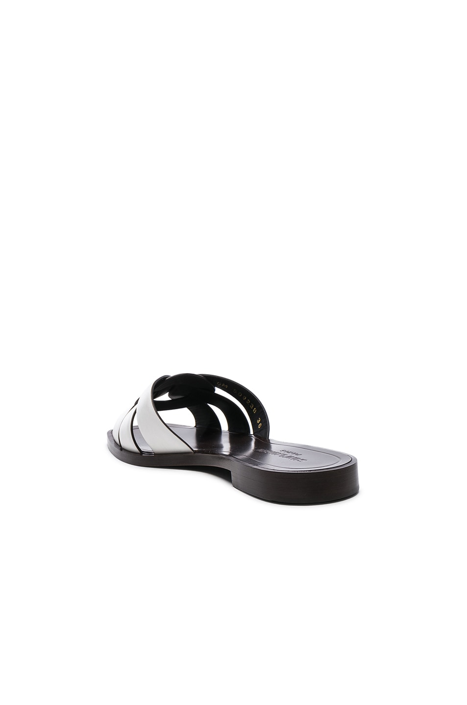 Image 3 of Saint Laurent Leather Nu Pieds Slides in Optic White