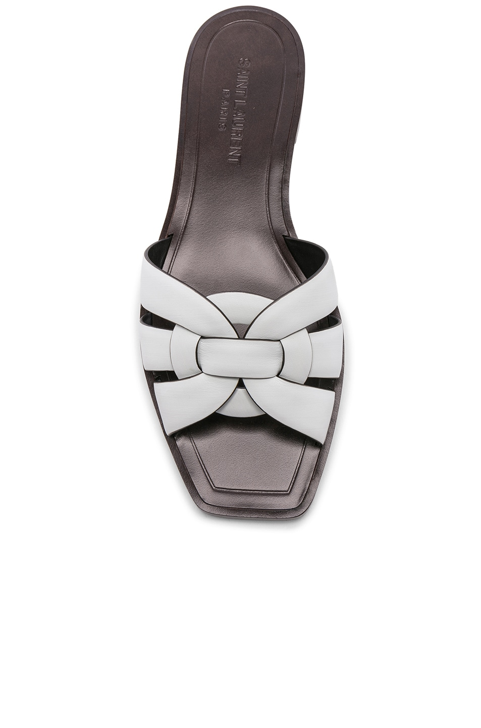 Image 4 of Saint Laurent Leather Nu Pieds Slides in Optic White