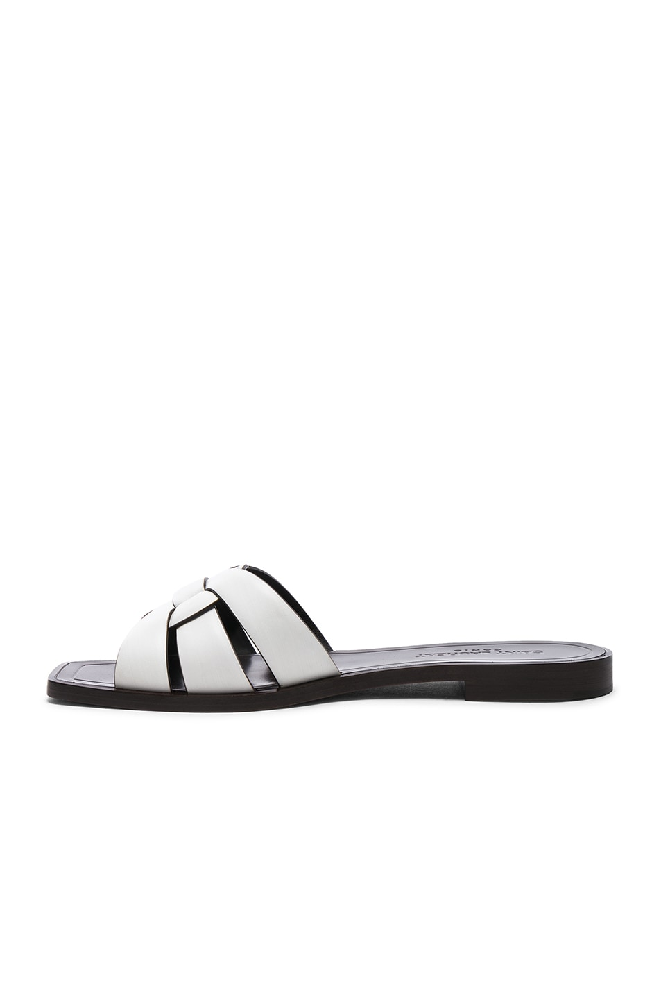 Image 5 of Saint Laurent Leather Nu Pieds Slides in Optic White