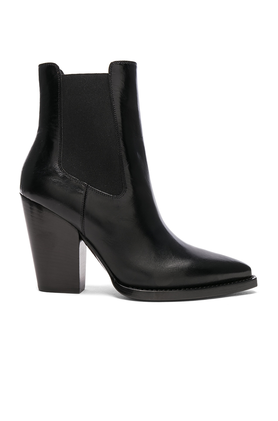 Image 1 of Saint Laurent Leather Theo Heeled Chelsea Boots in Black