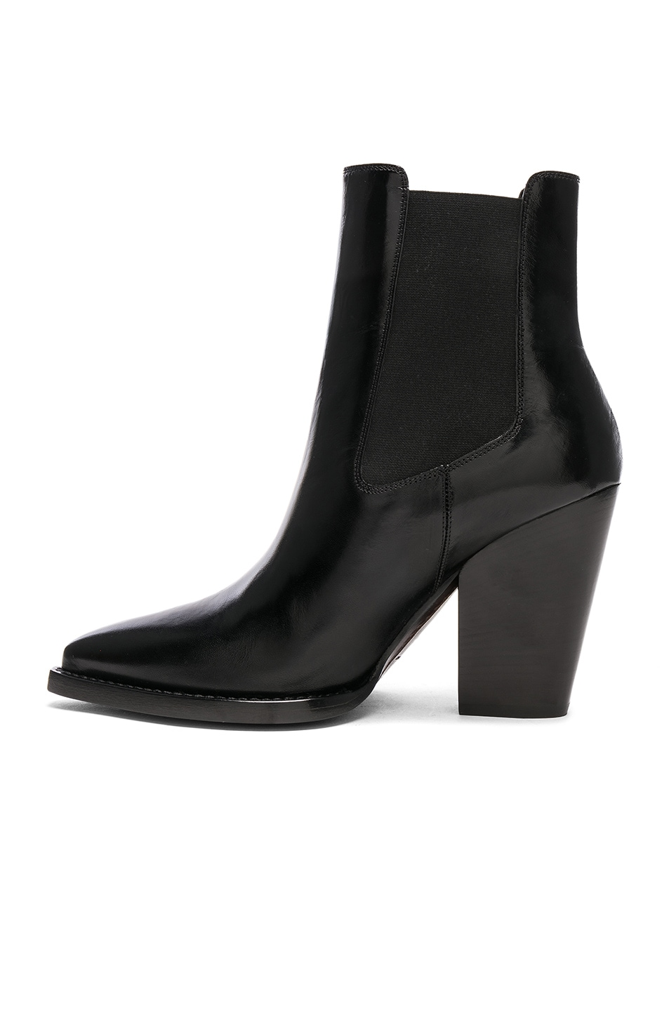 Image 5 of Saint Laurent Leather Theo Heeled Chelsea Boots in Black