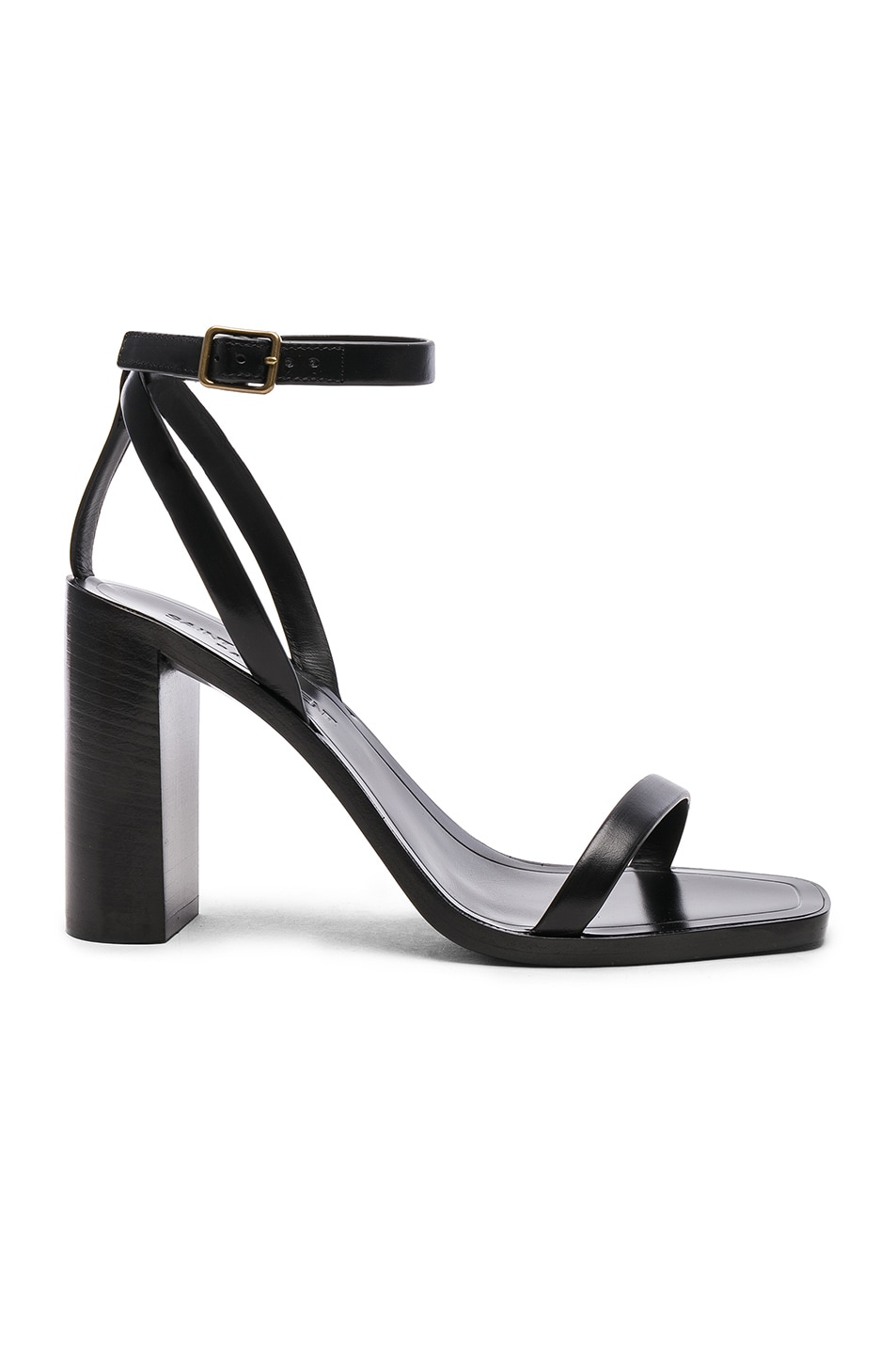 Image 1 of Saint Laurent Leather Loulou Ankle Strap Sandals in Black