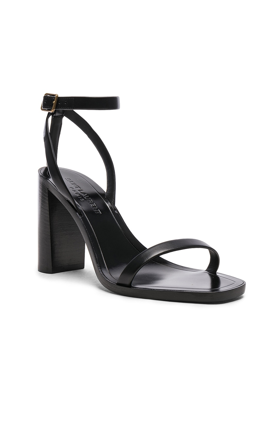 Image 2 of Saint Laurent Leather Loulou Ankle Strap Sandals in Black