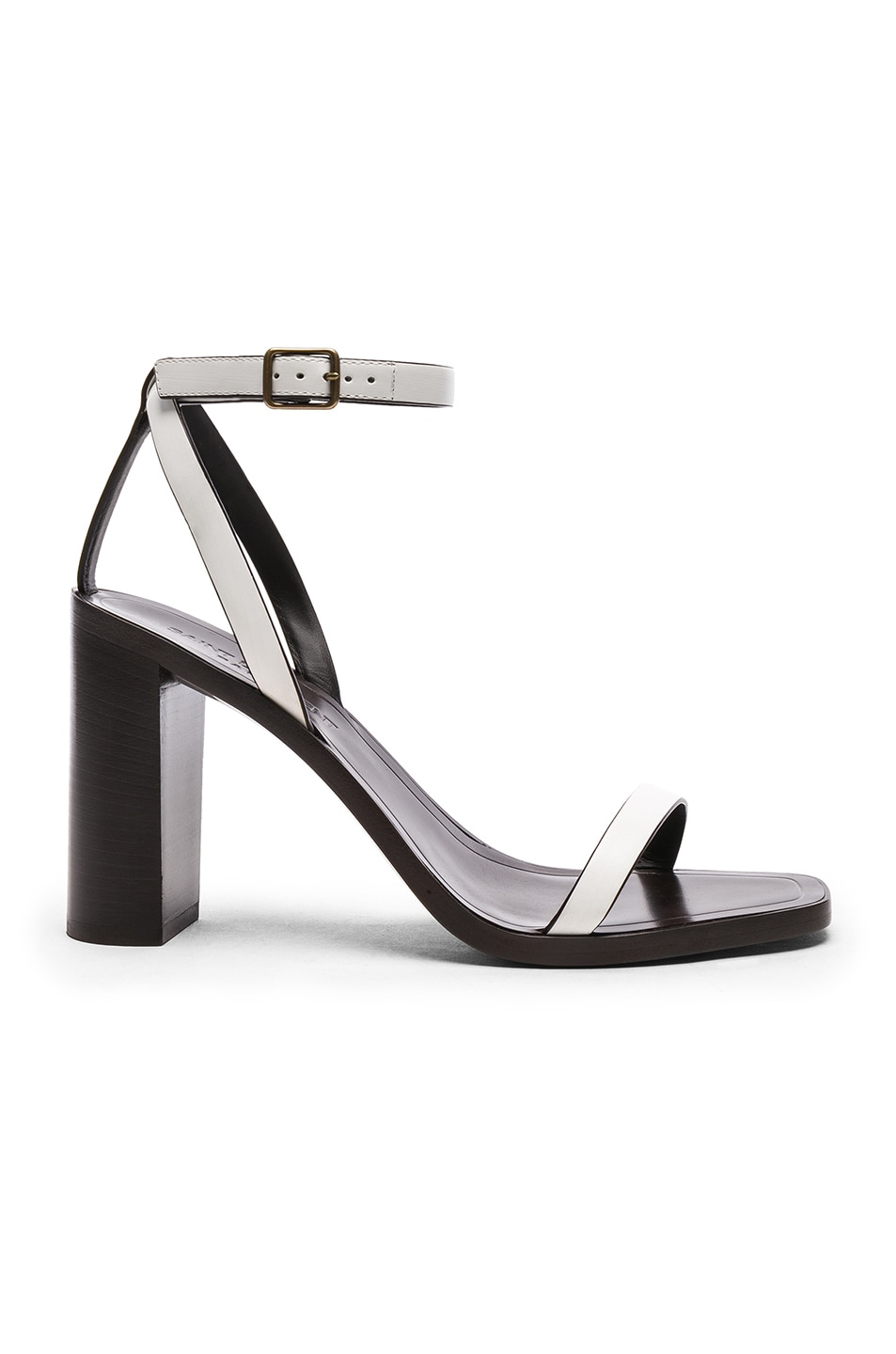 Image 1 of Saint Laurent Leather Loulou Ankle Strap Sandals in Optic White