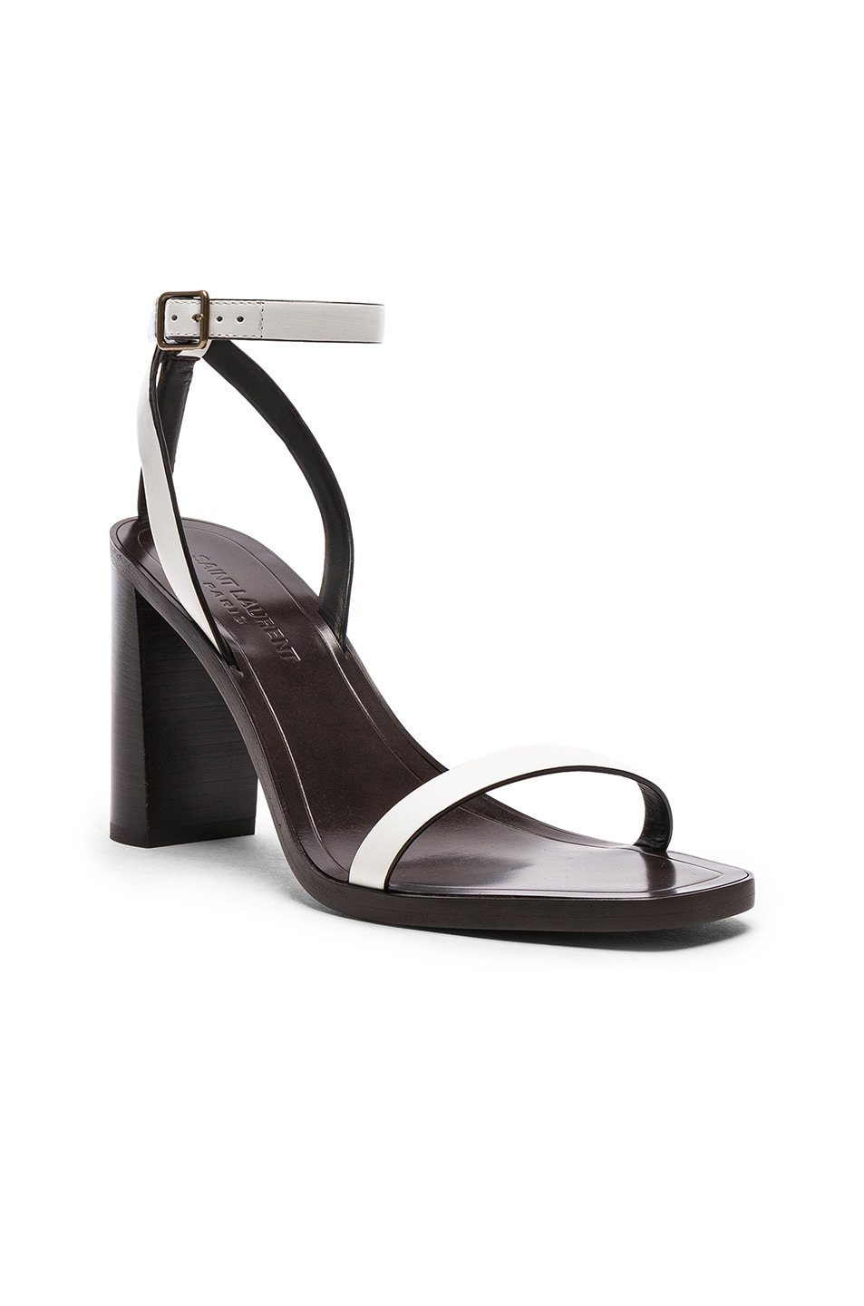 Image 2 of Saint Laurent Leather Loulou Ankle Strap Sandals in Optic White