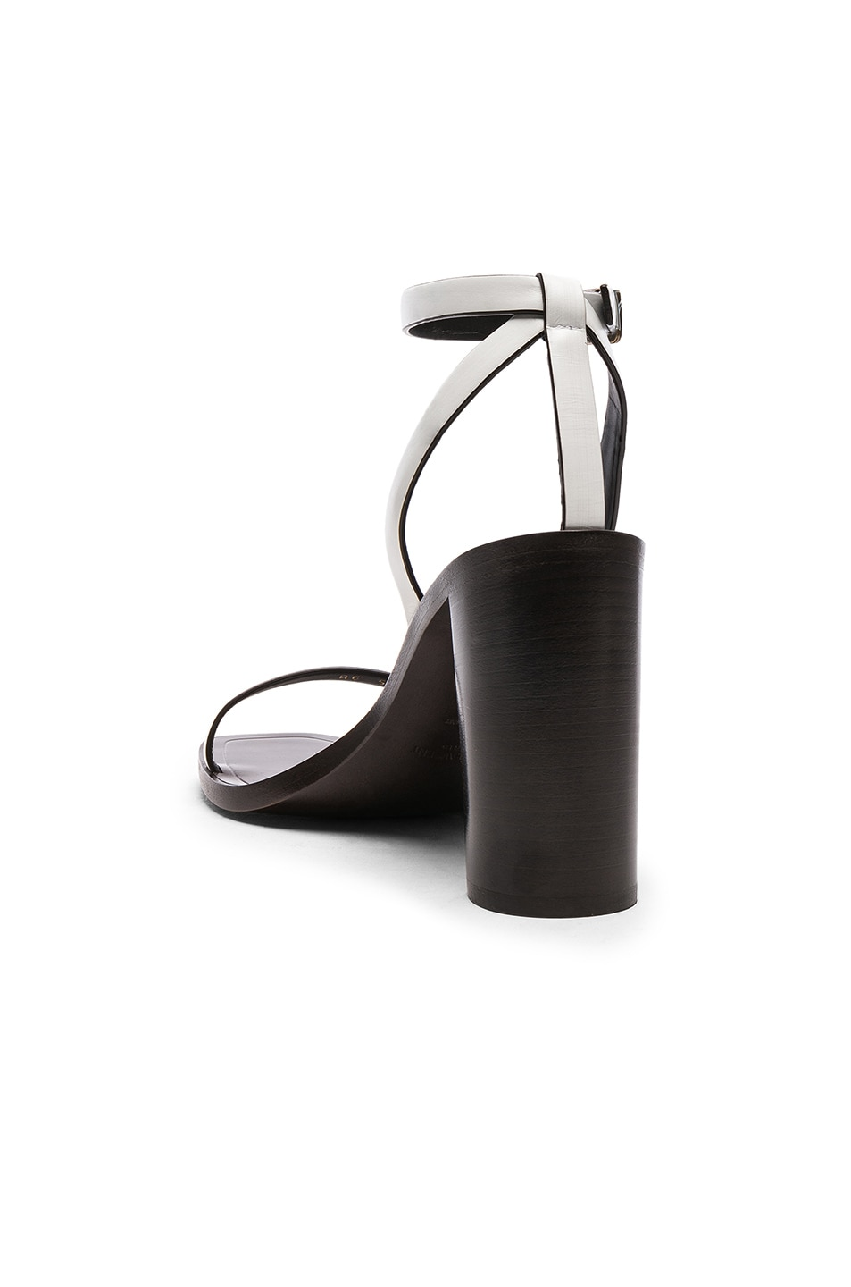 Image 3 of Saint Laurent Leather Loulou Ankle Strap Sandals in Optic White