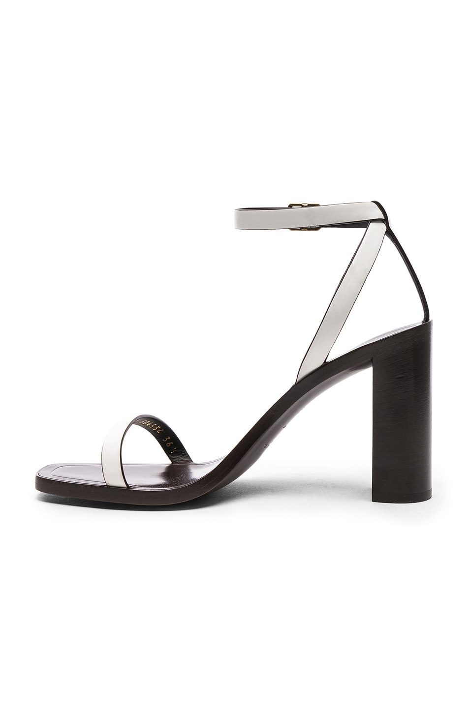 Image 5 of Saint Laurent Leather Loulou Ankle Strap Sandals in Optic White